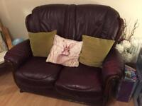 2 seater burgundy leather sofa price reduced for quick sale