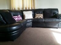 Leather Corner settee with electric reclining chair
