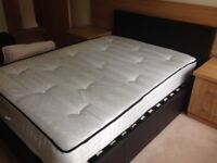 Faux leather double bed with mattress and under bed storage