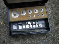 W A J George and Becker SMALL weights SET c1930s IN A BAKE A LITE BOX