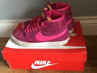 Pink Nike high tops trainers size 5 ladies / girls