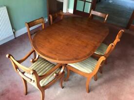 Regency Dining Table and Six Chairs