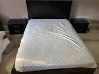 Double bed, mattress and side tables