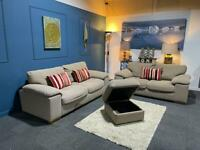 John Lewis cream fabric suite 3 seater sofa and 2 seater sofa and storage pouffe