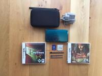 Aqua 3DS With 6 Games,Nintendo Case,2GB Toshiba Memory Stick,3 Stylus Pens & Official Charger!