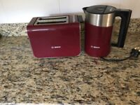 Kettle and Toaster, Bosch, cranberry colour matching set, good quality, with fast boil kettle