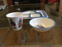 New Cath Kidston Limited Edition Robots bowl, cup and food tray