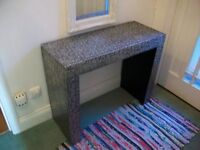 Stylish Embossed Silver & Black Metal hall console Table / Side Table