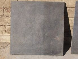 Slate tiles 40cm x 40cm, 50 complete tiles plus offcuts, previously used for patio