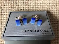 Kenneth Cole Cufflinks blue stone and Silver