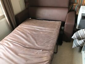 Immaculate faux leather brown Sofa Bed