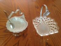 Glass and Silver condiment and sugar bowls