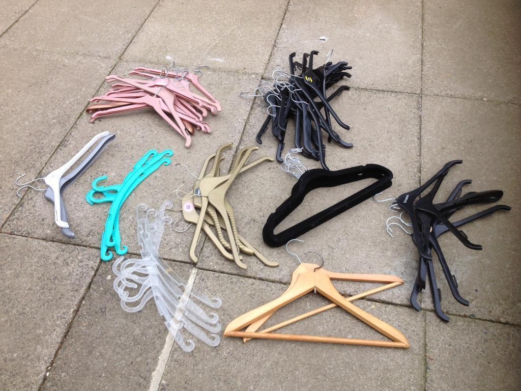 70 various coat hangers.