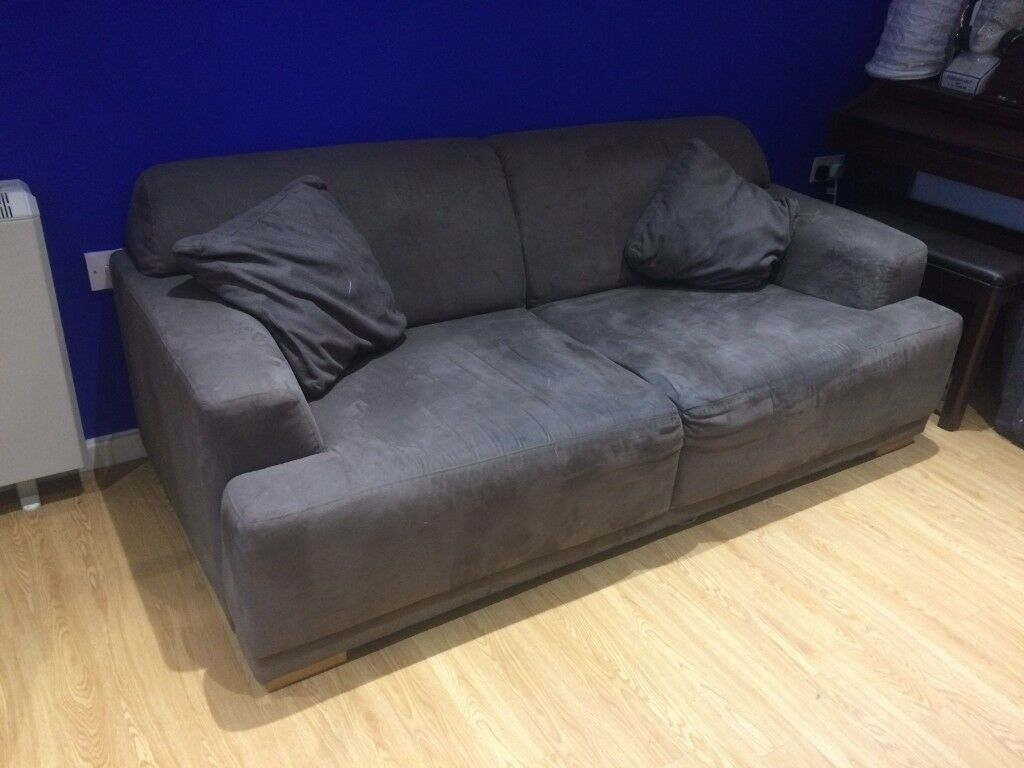 Grey Suede Sofa With Cushions Large 2 Seater