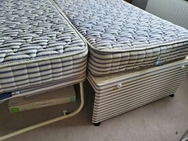 Free, collection only - two single beds with mattresses to make double