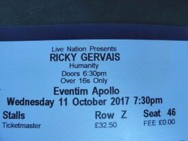 2 Ricky Gervais Tickets for Humanity London Eventim Apollo 11 Oct 2017