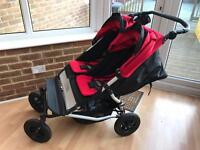 Mountain Buggy double red stroller & two black carrycots