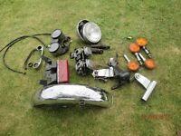 Yamaha XS250 parts including front mudguard, carbs, lights, clocks etc