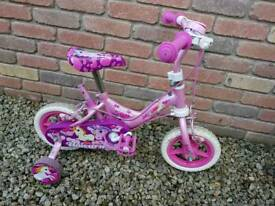 "Girls kids 10"" pink unicorn bike"