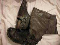 Khaki high boots