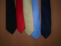 5 TIES, LIGHT BLUE, YELLOW, RED, BLACK and NAVY BLUE, HARDLY EVER WORN. £1 EACH or £3 FOR ALL FIVE