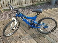 "Dyno 180 MC blue bike 24"" wheels 21 gears 16"" aluminium frame full suspension front disc brake"