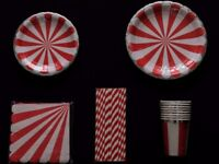 Tableware party pack. Colourful red & silver paper cups, plates, napkins & straws. Birthday
