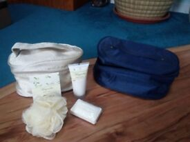 2 toiletries bags (one complete with toiletries) both new
