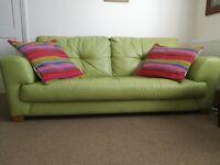 2/3 seater leather sofa, pistachio green