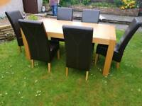 Dining table and chairs, side board unit and mirror to match