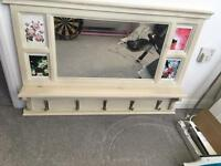 Shabby chic style mirror with hooks