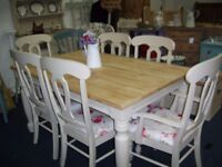 FARMHOUSE KITCHEN DINING TABLE AND 6 CHAIRS 5ft x 3ft 2 inches SOLID PINE