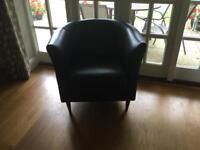 Chair - John Lewis faux brown leather tub armchair