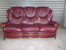 Burgundy Italian Leather 3-1-1 Suite (Sofa)