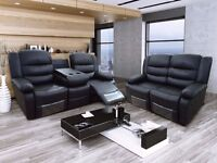 Roman 3 & 2 Black Bonded Leather Luxury Recliner Sofa Set With Pull Down Drink Holder. UK Delivery!