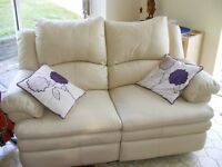 LOVELY PAIR 2 SEATER LEATHER SOFAS AND MATCHING CHAIR - IVORY