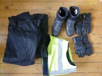 Motorbike trousers, boots, gloves, high vis vest