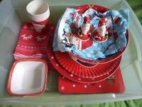 Red and White Table Set