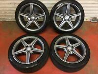 18'' GENUINE MERCEDES AMG SPORT GREY PLUS ALLOY WHEELS TYRES C CLASS W205 S205