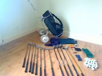 Hippo Golf Set EXCELLENT PLUS CONDITION, Bag and Trolley, 1-3 drivers, 3-9 irons, Mizuno Putter etc.