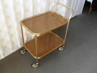 VINTAGE GOLD AND TEAK EFFECT TWO TIER TROLLEY COCKTAIL TROLLEY HOSTESS TROLLEY