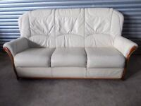 Italian Cream Leather 3-seater Sofa (Suite) with matching Armchair