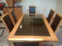 Oak kitchen table with 6 chairs and 4 bar stools