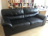 4 Seater Black Leather Sofa