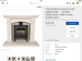 Norfolk limestone fire surround and hearth