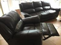 Soft warm leather Three seat sofa and one chair dark brown in colour