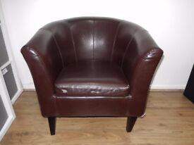 Bucket Chair Brown faux leather