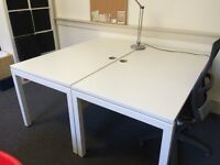 6 Bespoke White Desks EXCELLENT CONDITION with underneath shelving and FREE DRAW SET