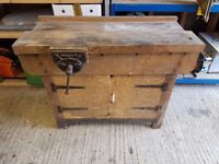 Wooden workbench and vice