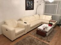 Sneaker White / Cream Leather L-Shape Sofa and Electric Reclining Armchair